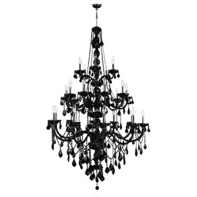Provence Collection 25-Light Black Crystal Chandelier