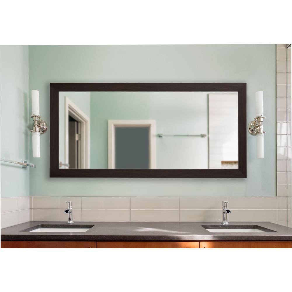 34 in. W x 73 in. H Framed Rectangular Bathroom Vanity Mirror in Walnut