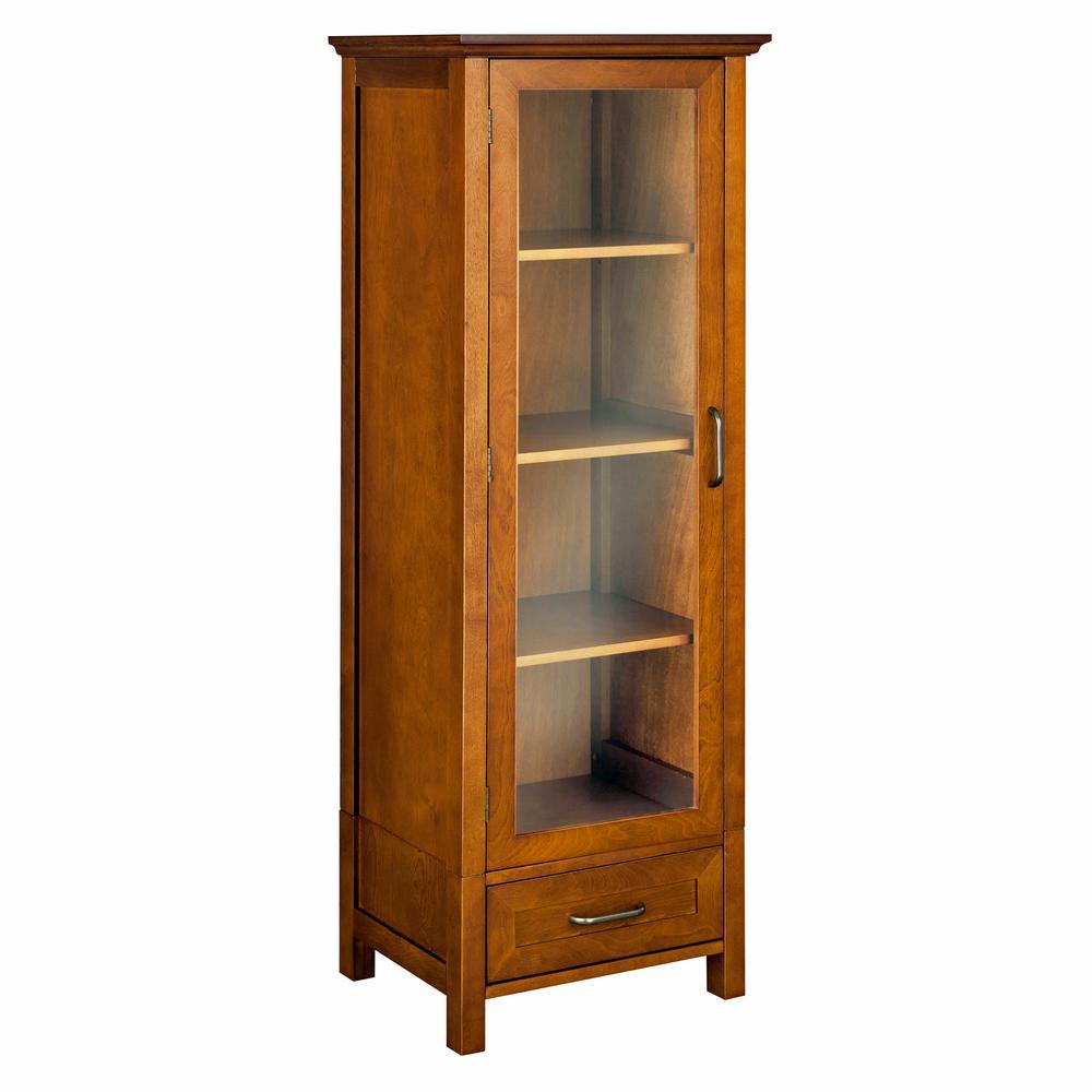 Aida 48-1/2 in. H x 17. in W x 13-1/2 in. D Bathroom Linen Storage Cabinet in Oil Oak