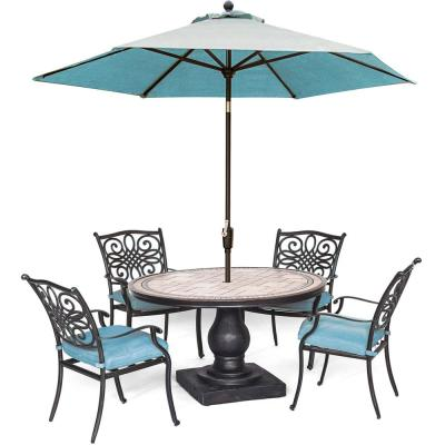Monaco 5-Piece Aluminum Outdoor Dining Set with Blue Cushions, 4 Dining Chairs, Tile-Top Table, and a 9 ft. Umbrella