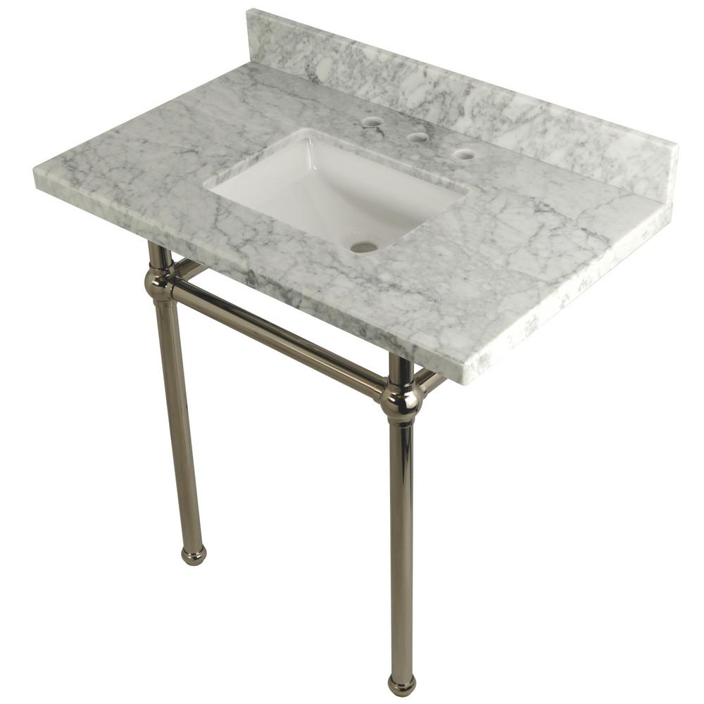 Square Sink Washstand 36 in. Console Table in Carrara with Metal