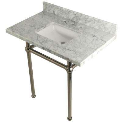 Square Sink Washstand 36 in. Console Table in Carrara with Metal Legs in Polished Nickel