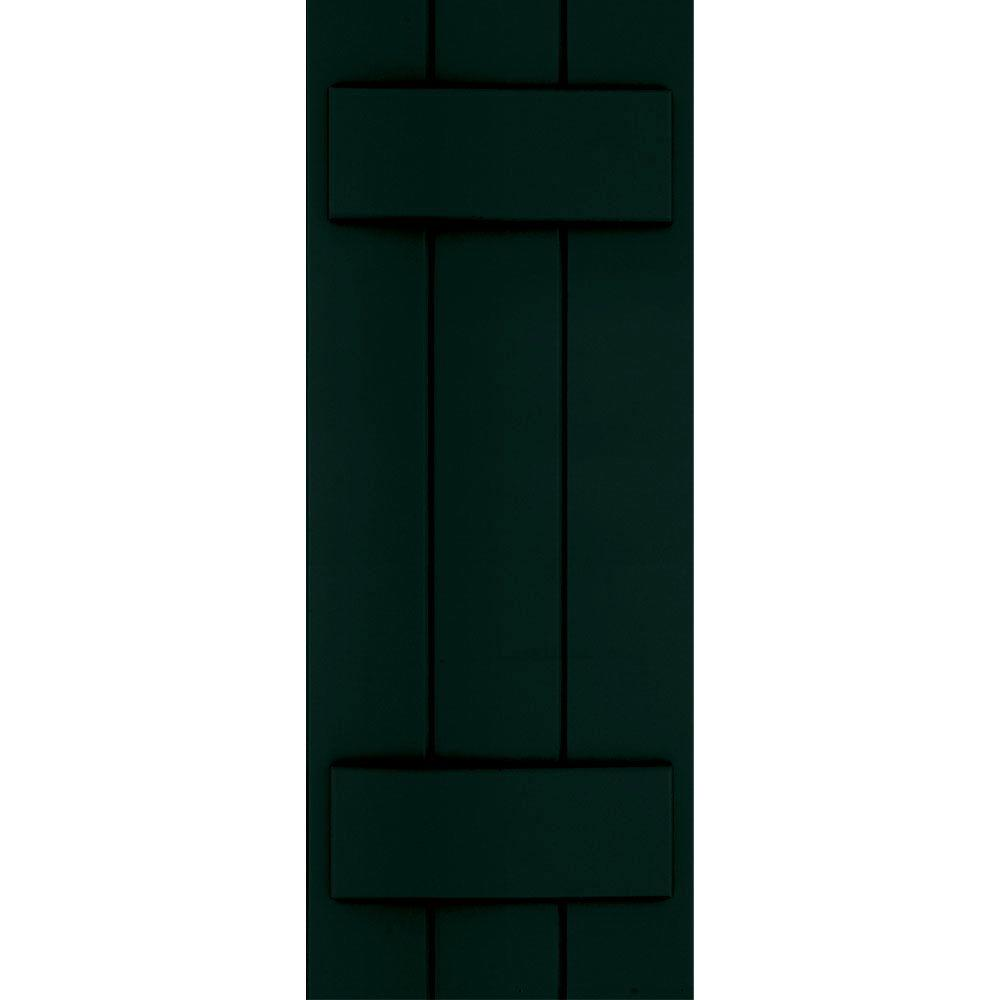 Winworks Wood Composite 12 in. x 31 in. Board & Batten Shutters Pair #654 Rookwood Shutter Green