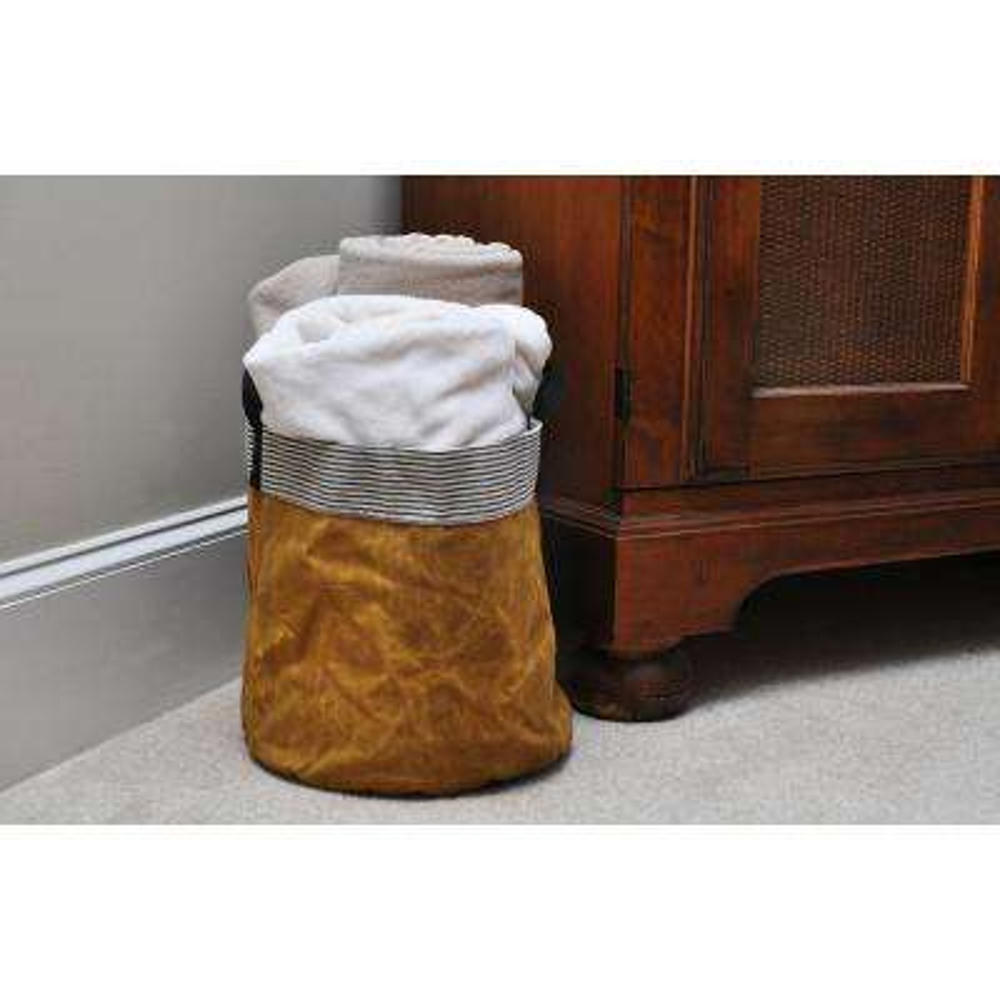 Medium Rover Yellow Waxed Canvas Round Bottom Storage Tub