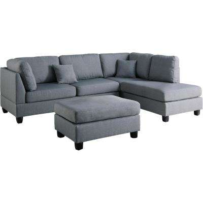 Madrid 3-Piece Reversible Sectional Sofa in Gray with Ottoman