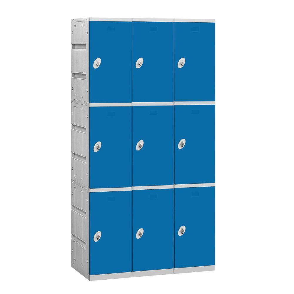 Salsbury Industries 93000 Series 38.25 in. W x 74 in. H x 18 in. D 3-Tier Plastic Lockers Unassembled in Blue