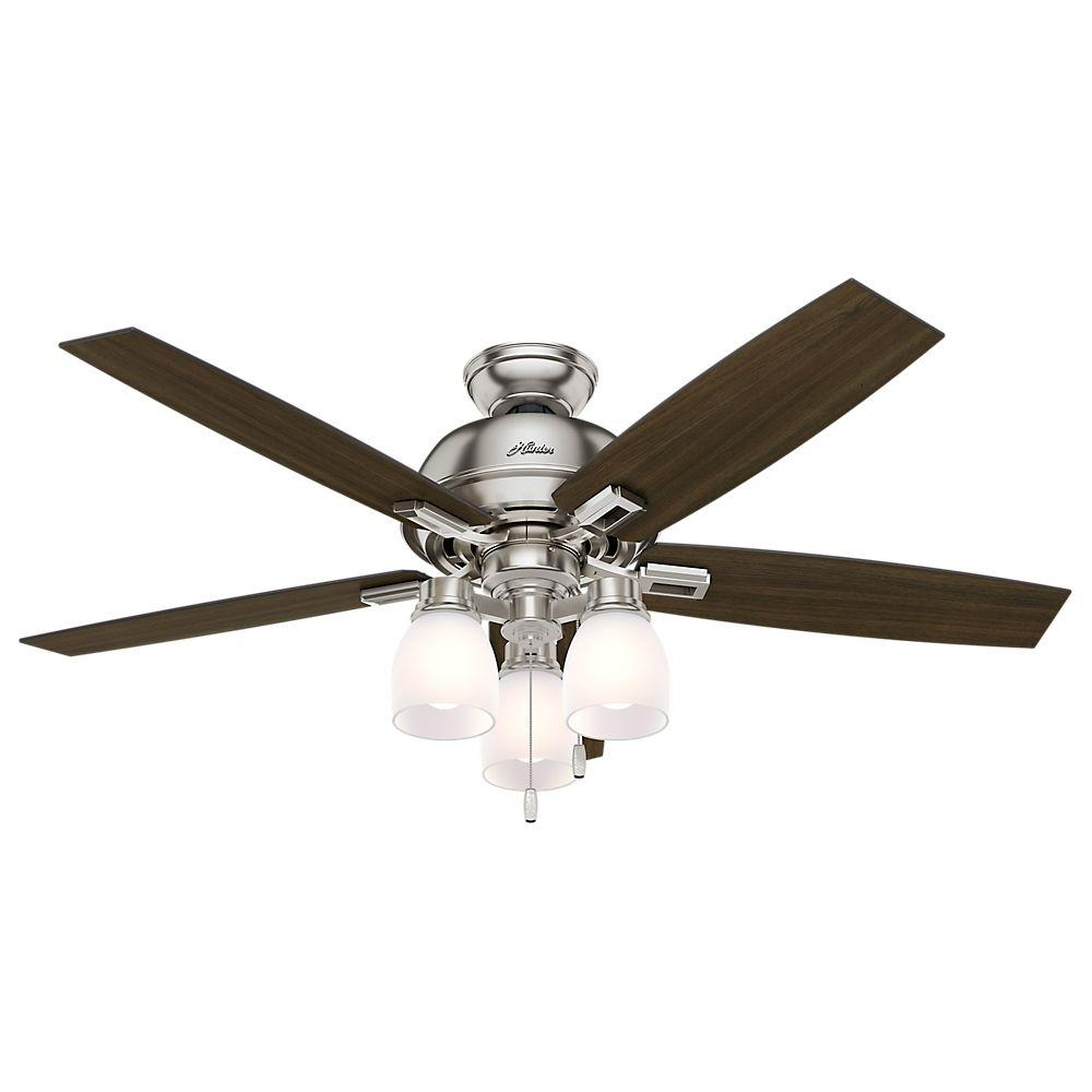 Donegan 52 in. LED Indoor Brushed Nickel Ceiling Fan with 3-Light