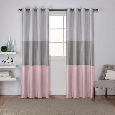 Chateau 54 in. W x 96 in. L Faux Silk Grommet Top Curtain Panel in Blush (2 Panels)