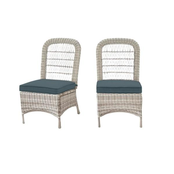 Beacon Park Gray Wicker Outdoor Patio Armless Dining Chair with Sunbrella Denim Blue Cushions (2-Pack)