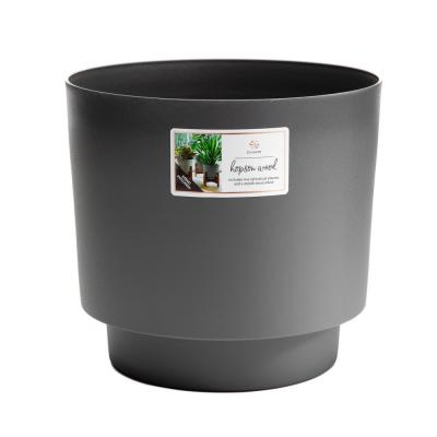 Hopson Medium 12 in. Charcoal Gray Plastic Planter with Wood Stand