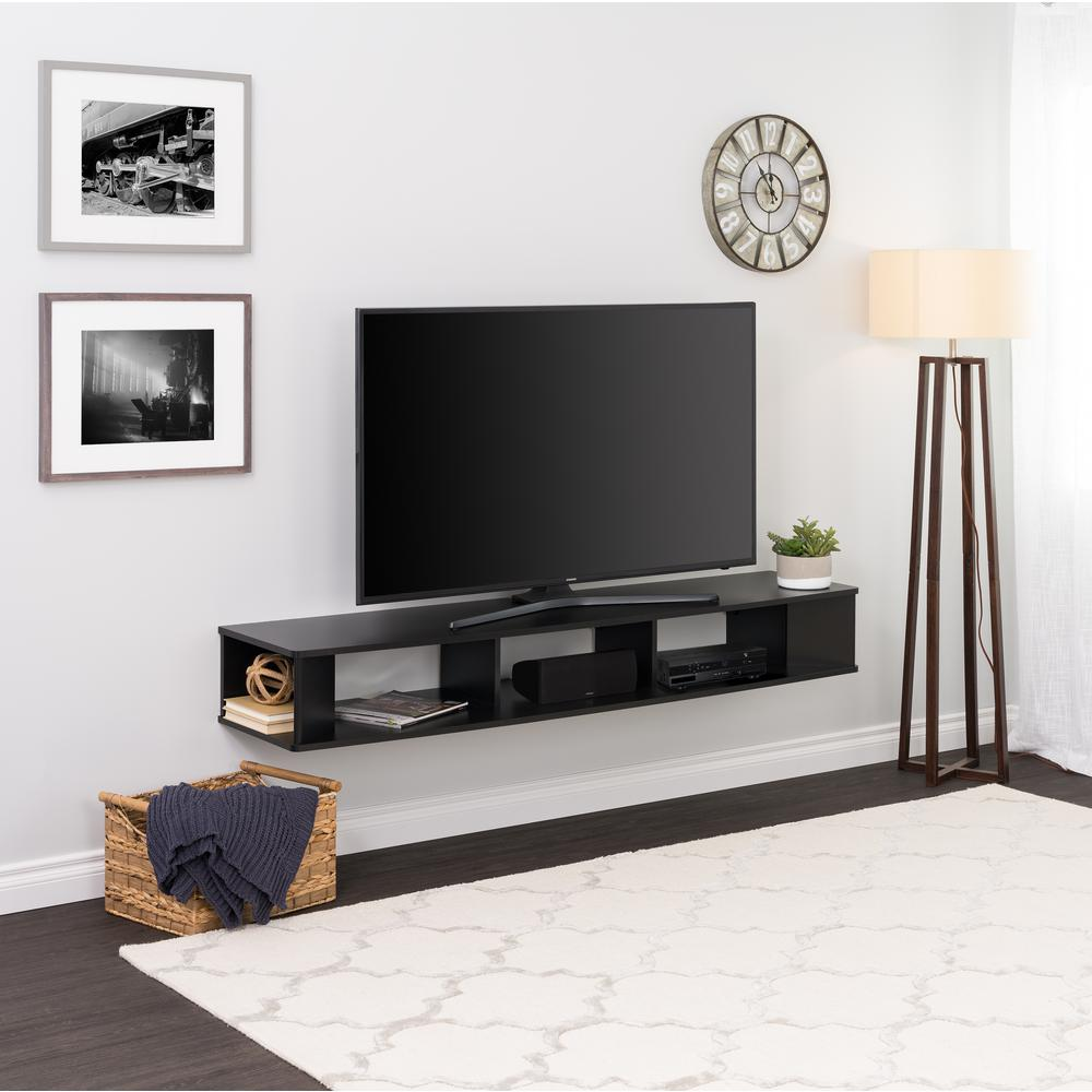 Wide Black Wall Mounted Tv Stand