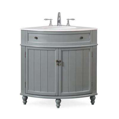 Thomasville 24 in. W x 24 in. D x 34.5 in. H in. Bath Vanity in Gray with Marble Vanity Top in White with White Basin
