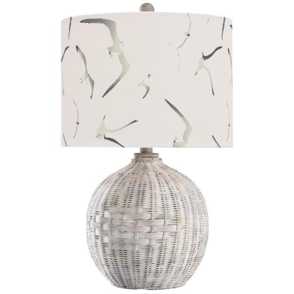 StyleCraft 21.5 in. Natural with Wash Table Lamp with White Seagull Print Hardback Fabric Shade