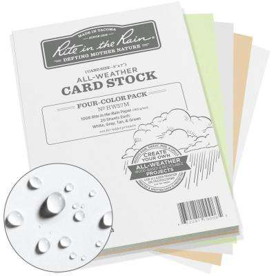 All-Weather 5 in. x 7 in. 100 lbs. Card Stock, Multi-Color (20-Sheets of White, Green, Tan and Gray, 80-Sheet)