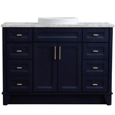 49 in. W x 22 in. D Single Bath Vanity in Blue with Marble Vanity Top in White Carrara with White Round Basin