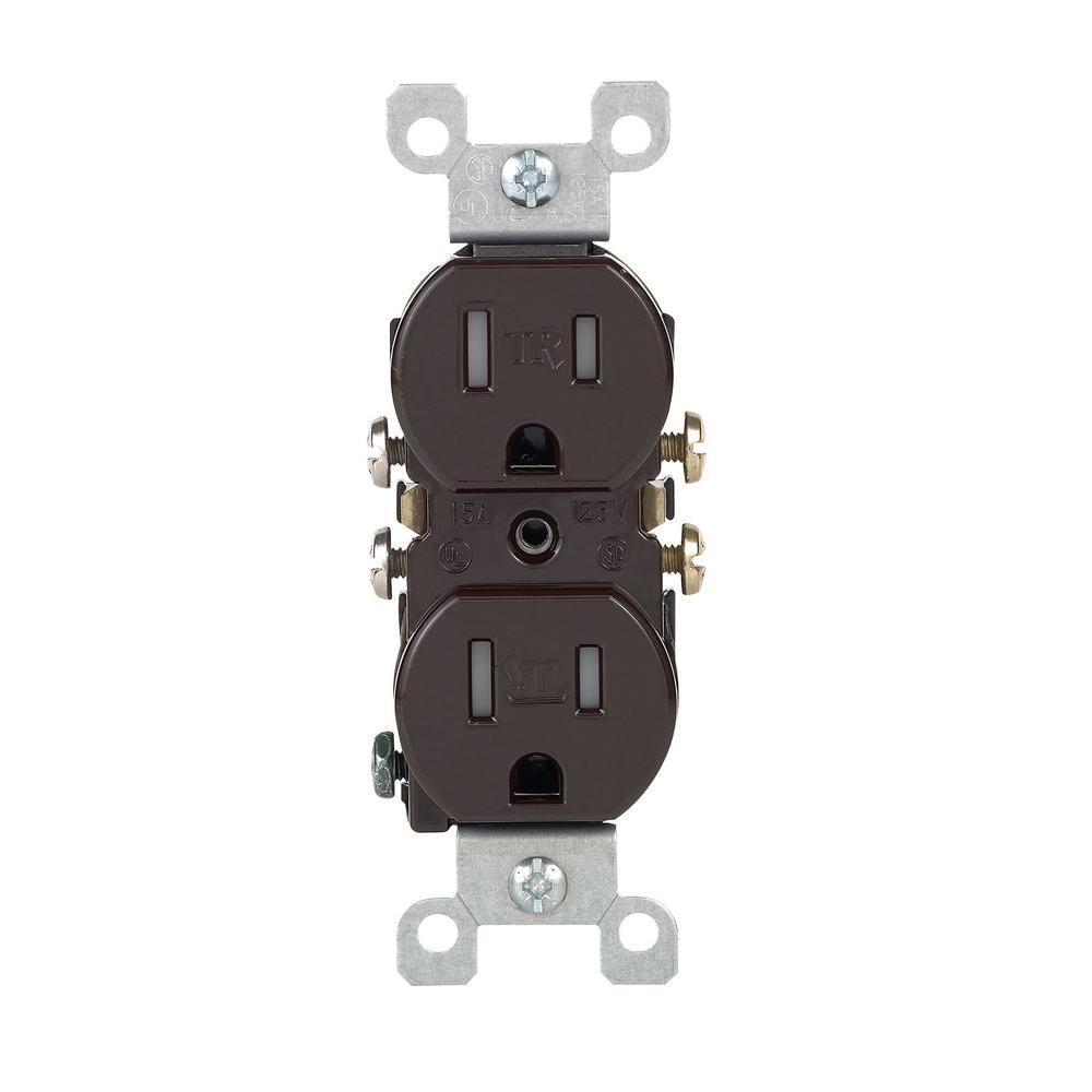 15 Amp Tamper-Resistant Duplex Outlet, Brown