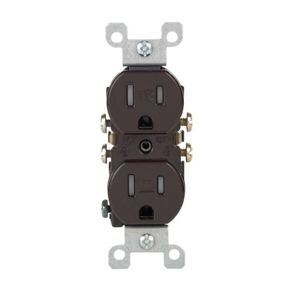 15 Amp Tamper-Resistant Duplex Outlet, Brown