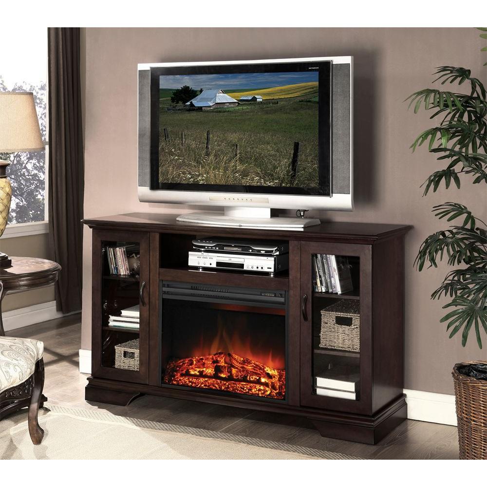 Hampton Bay Asbury 57 in. Media Console Electric Fireplace in Espresso-DISCONTINUED