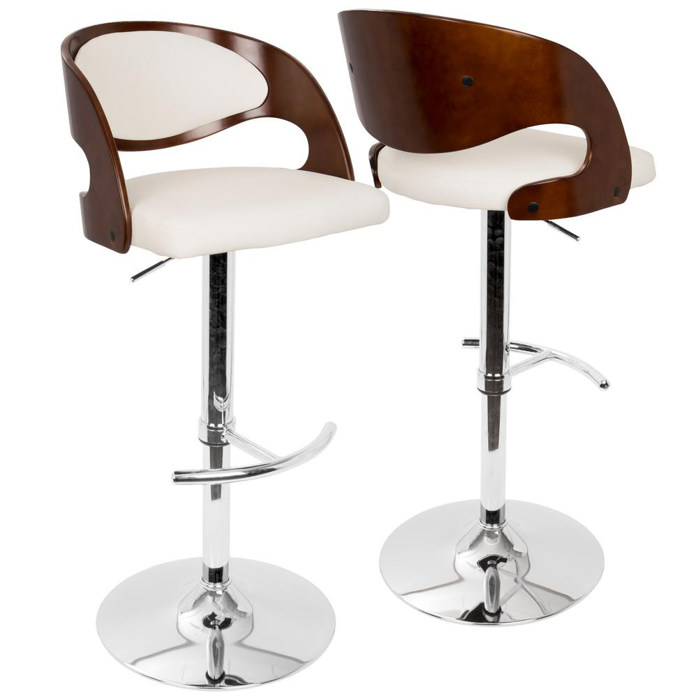 Lumisource Pino Adjule Height Cherry And White Faux Leather Bar Stool