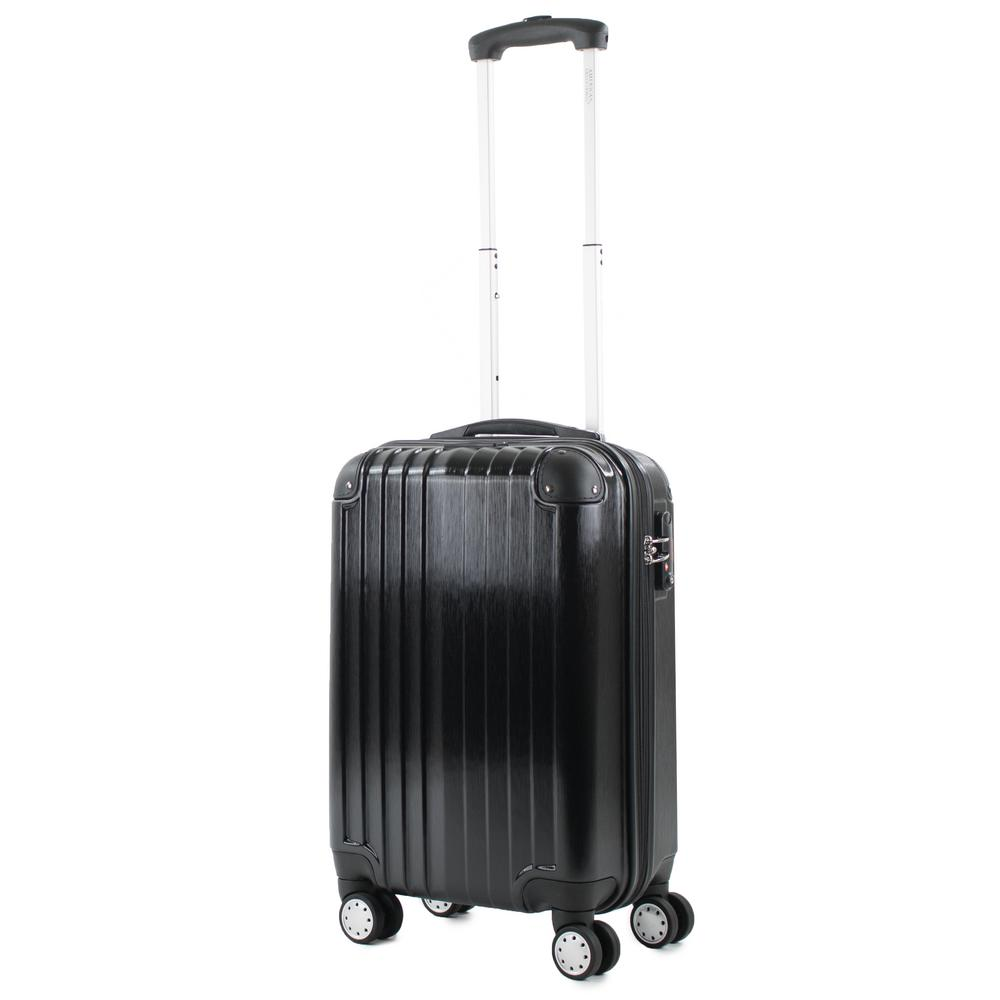Melrose Black 20 in. Carry-On Polycarbonate Expandable Spinner Luggage with TSA