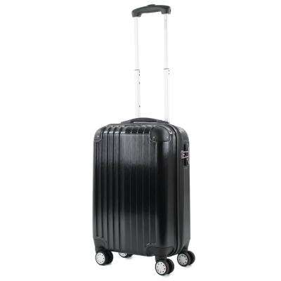 Melrose Black 20 in. Carry-On Polycarbonate Expandable Spinner Luggage with TSA Lock and Corner Guards