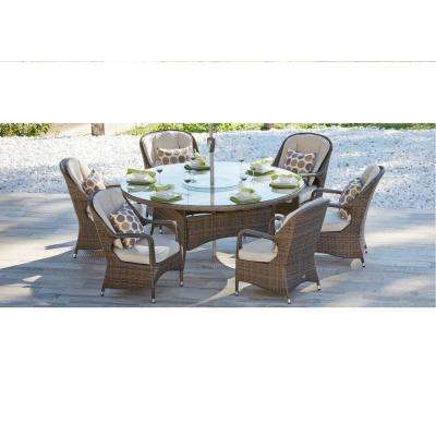 Cordella Brown 7-Piece Wicker Round Outdoor Dining Set with Biege Cushions