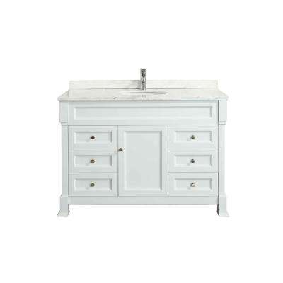 Tim 48 in. W x 35 in. D x 22 in. H Vanity in White with Carrara Top in White with White Basin