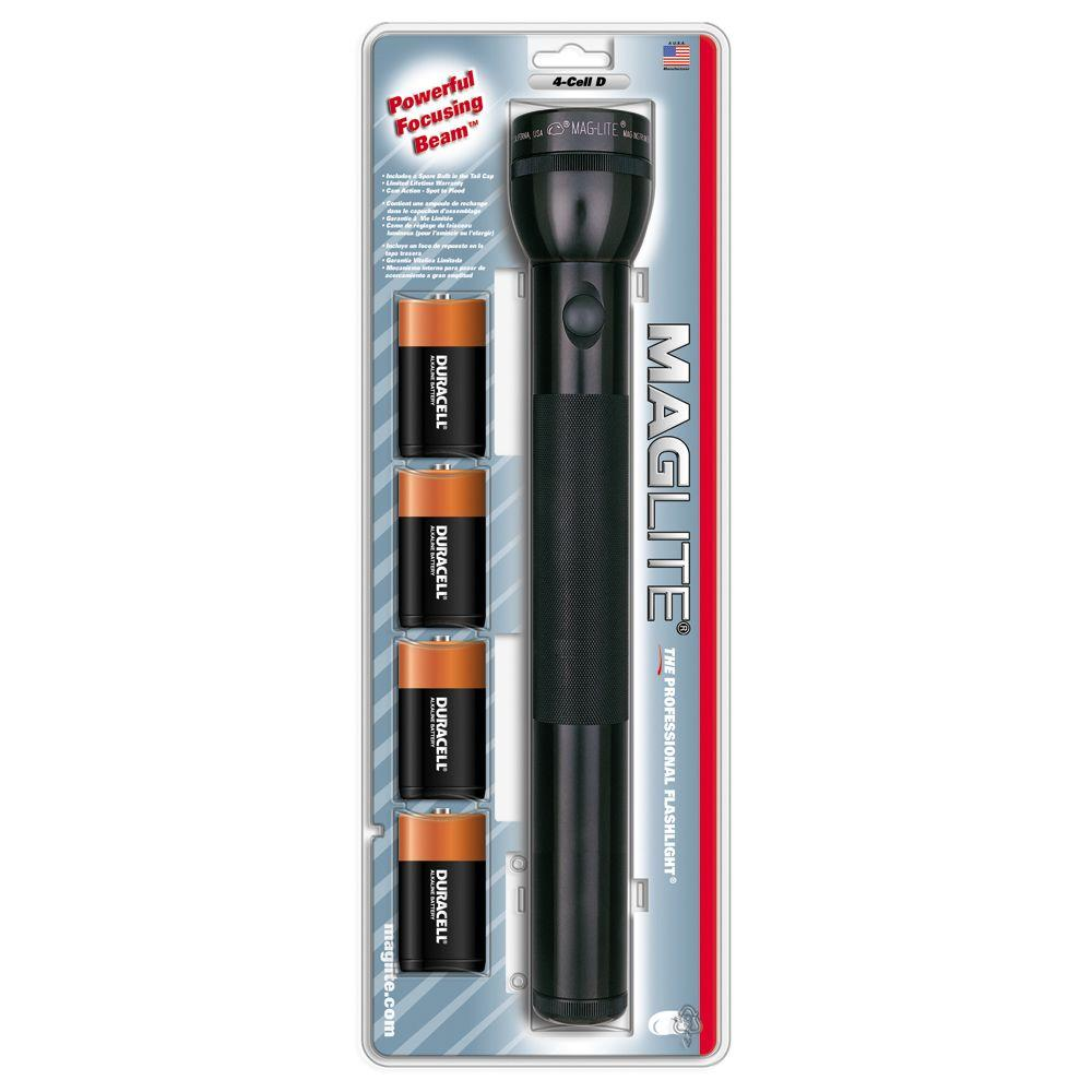 Maglite 4 D-Cell Battery Incandescent Aluminum Flashlight