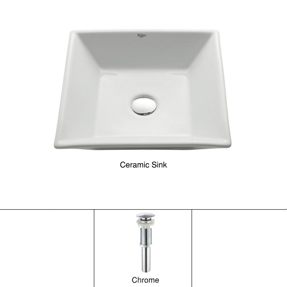 KRAUS Flat Square Ceramic Vessel Bathroom Sink in White with Pop Up Drain in Chrome