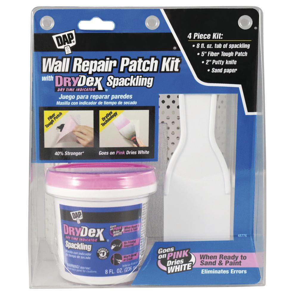 Dap drydex 8 oz wall repair patch kit 12345 the home depot for Furniture scratch repair kit home depot