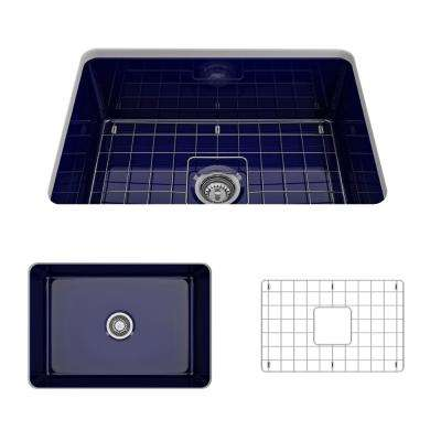 Sotto Undermount Fireclay 27 in. Single Bowl Kitchen Sink with Bottom Grid and Strainer in Sapphire Blue