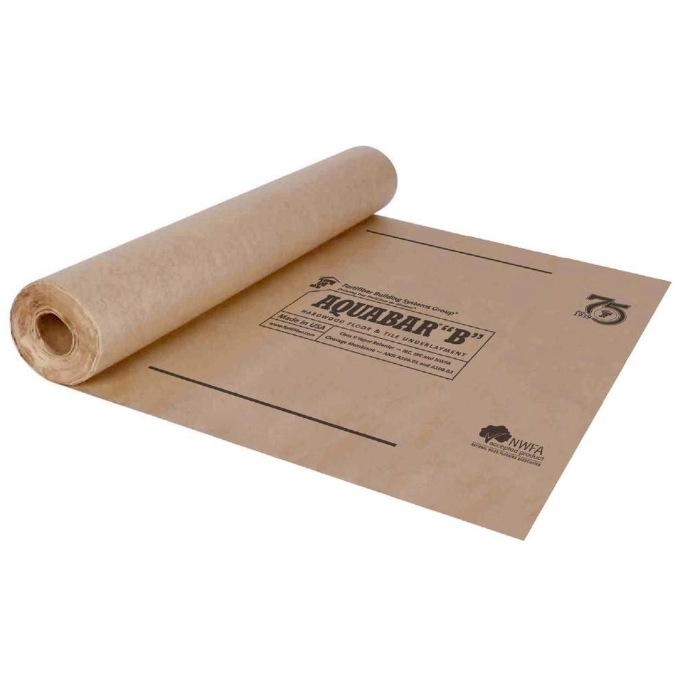 Fortifiber 500 sq ft aquabar b tile underlayment roll for Wood floor underlayment