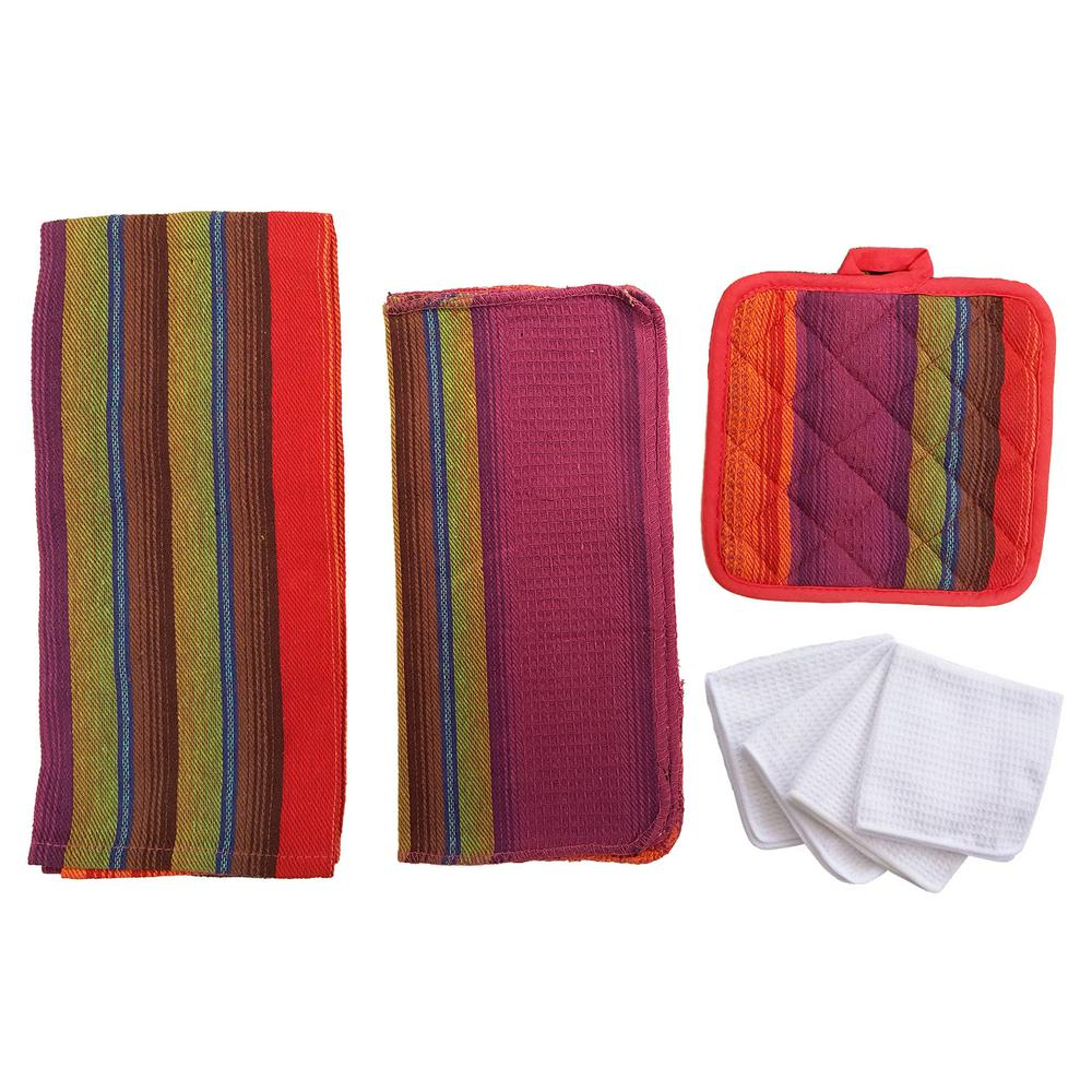 Home Basics Malibu Kitchen Towel Set In Orange 8 Piece