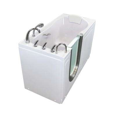 Deluxe 55 in. Acrylic Walk-In Micro Bubble Air Bath Bathtub in White with Thermostatic Faucet Set, LHS 2 in. Dual Drain