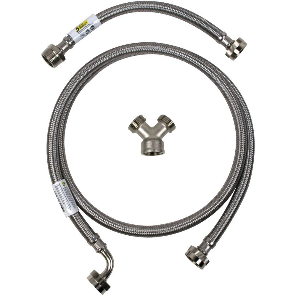CERTIFIED APPLIANCE ACCESSORIES 6 ft. Braided Stainless Steel Steam Dryer Installation Kit with Elbow, Silver For years, licensed plumbers, electricians and appliance installers have relied on CERTIFIED APPLIANCE ACCESSORIES for their power cords, hoses and connectors. Now you can too. Enjoy the convenience offered by this steam dryer installation kit from CERTIFIED APPLIANCE ACCESSORIES. This high-quality kit includes a fill hose, inlet adapter and Y-connector to ensure a flexible, durable and reliable connection for your next home installation project. This kits components have been thoroughly tested and are backed by a 5-year limited warranty. Always consult your appliances installation instructions. Check your appliance's manual for the correct specifications to ensure this kit is right for you. Thank you for choosing CERTIFIED APPLIANCE ACCESSORIES Your Appliance Connection Solution. Color: Stainless Steel.