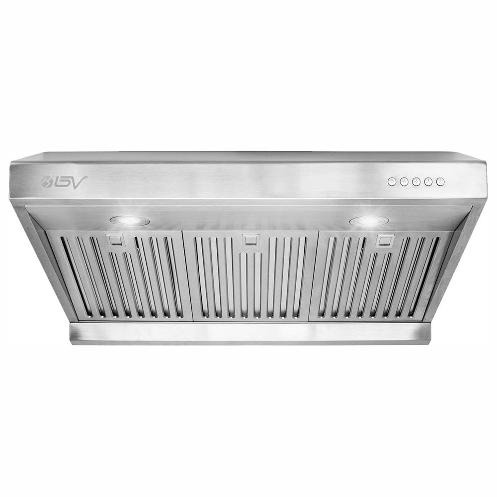 Bv 30 In 750 Cfm Under Cabinet Range Hood With Baffle Filters Led Lights And Push Buttons In Stainless Steel Bv Rh 01 The Home Depot