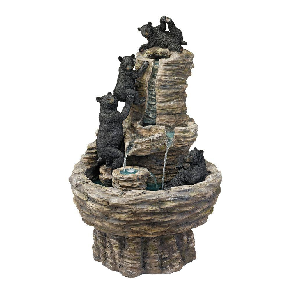 Design Toscano 17 in. W x 16.5 in. D x 27 in. H Rocky Mountain Splash Bear Fountain-DISCONTINUED