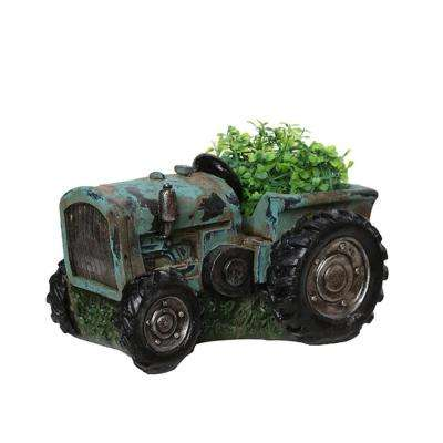 8.75 in. Distressed Teal and Black Tractor Outdoor Garden Patio Planter