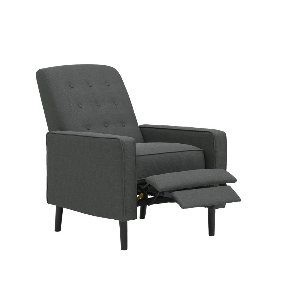 Prolounger Mid Century Modern Charcoal Gray Linen Push Back Recliner Rcl49 Lin15 Pb The Home Depot