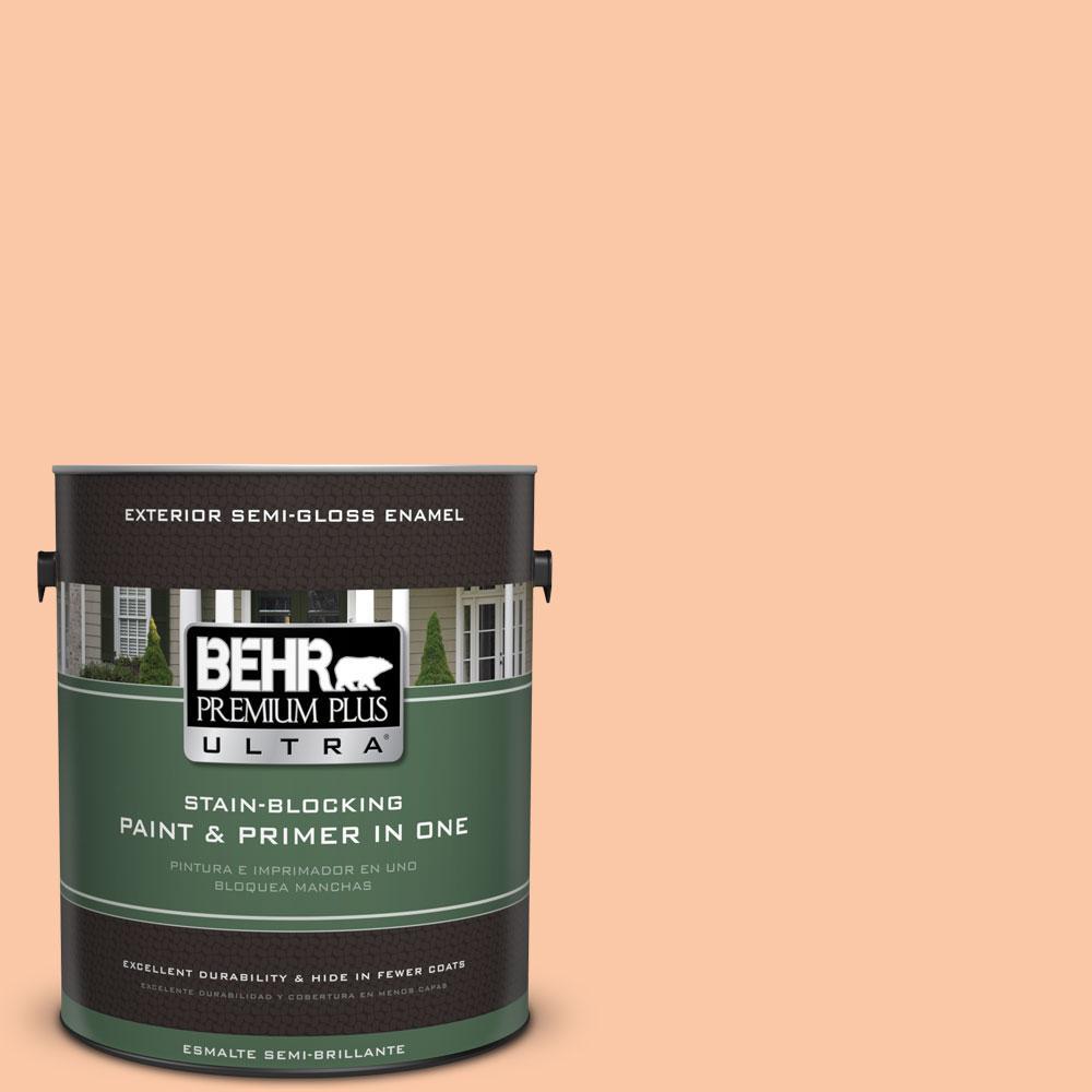 BEHR Premium Plus Ultra 1-gal. #250C-3 Fresco Cream Semi-Gloss Enamel Exterior Paint