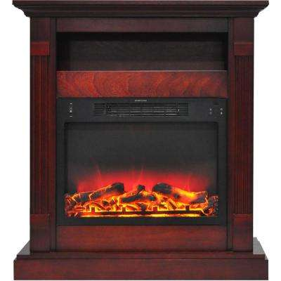 Sienna 34 in. Electric Fireplace with Enhanced Log Display and Cherry Mantel