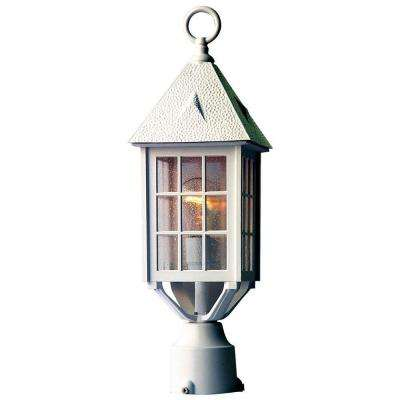 Outer Banks 1-Light Textured White Outdoor Post-Mount Light Fixture