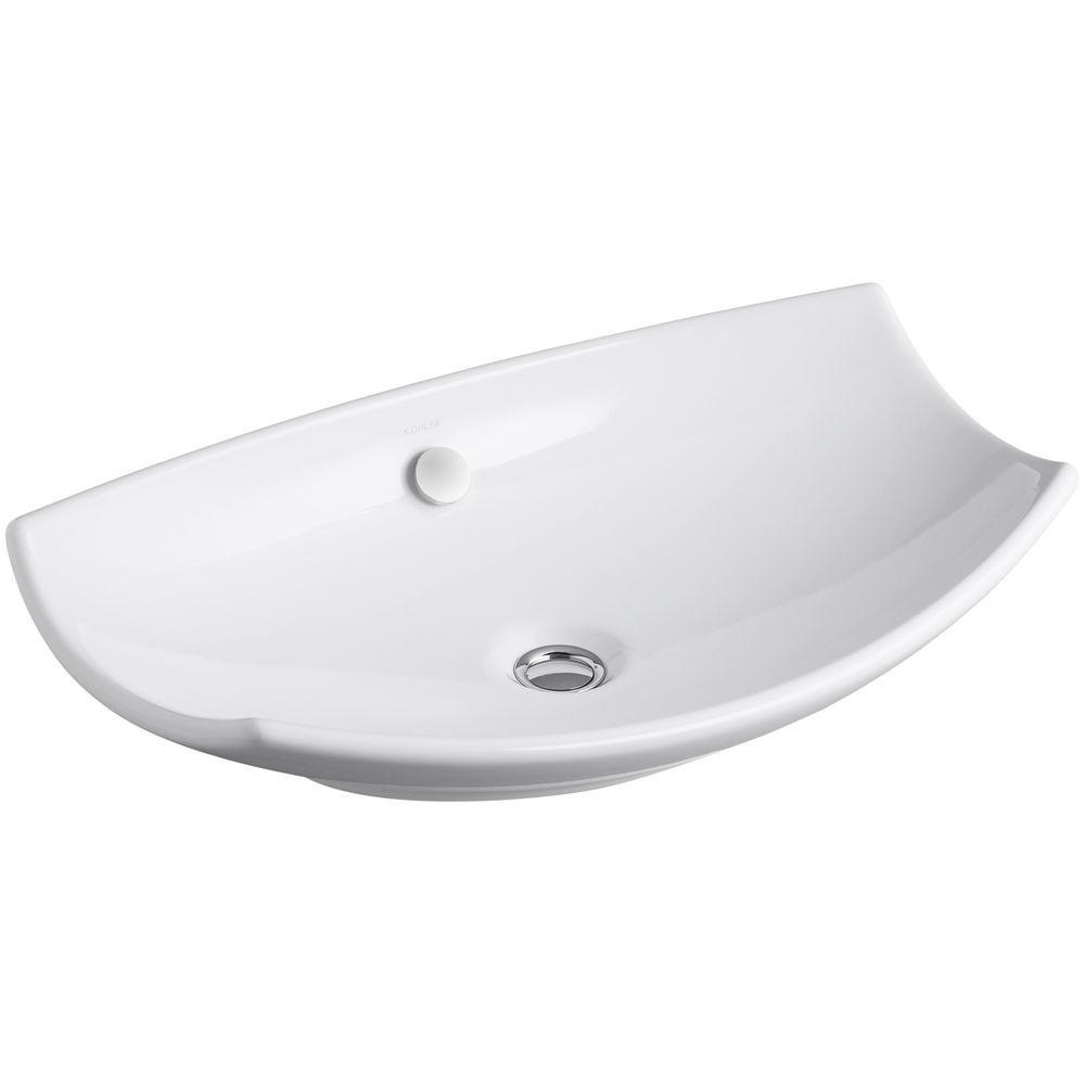Leaf Fireclay Vessel Sink in White with Overflow Drain