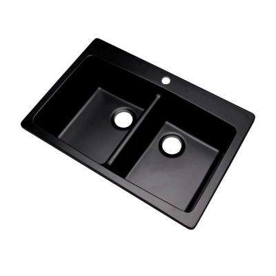 Waterbrook Dual Mount Composite Granite 33 in. 1-Hole Double Basin Kitchen Sink in Black