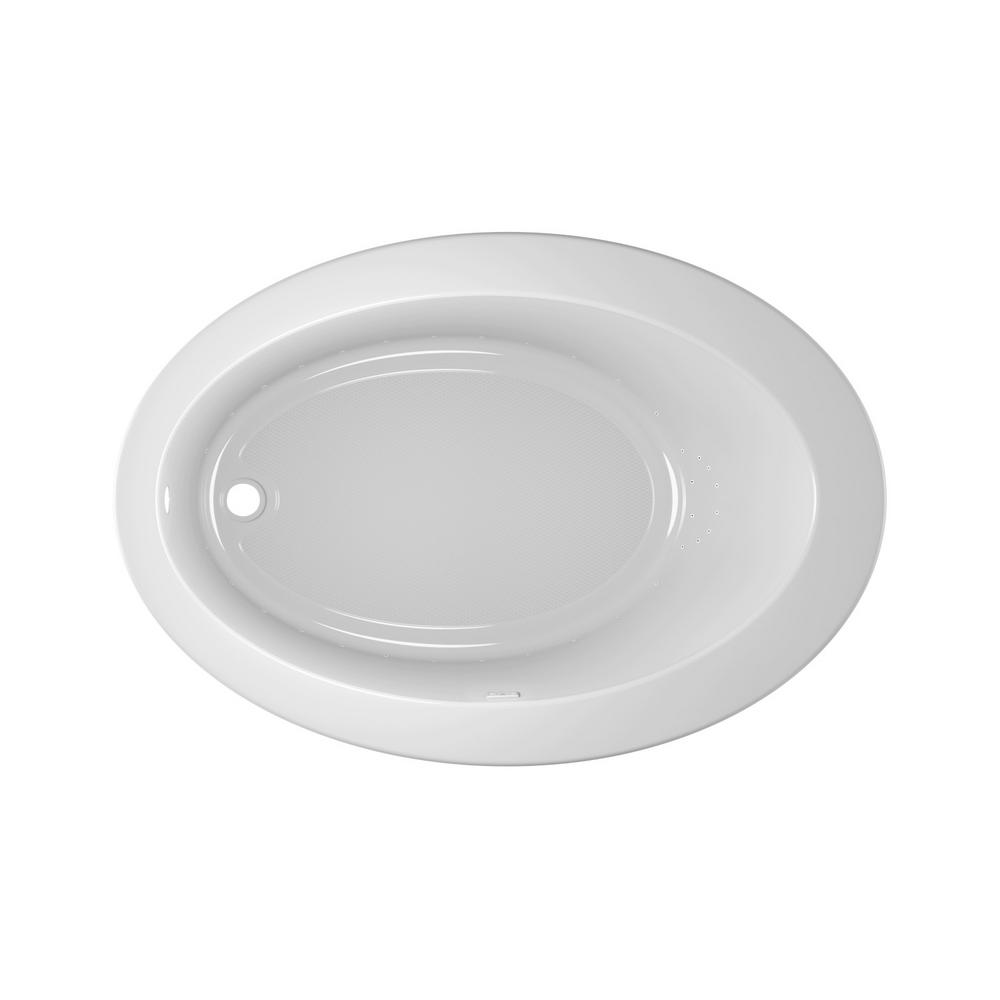 JACUZZI RIVA PURE AIR 62 in. x 43 in. Acrylic Left-Hand Drain Oval Drop-In Air Bath Bathtub in White