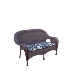 Coffee Wicker Outdoor Loveseat with Black Floral Cushions by