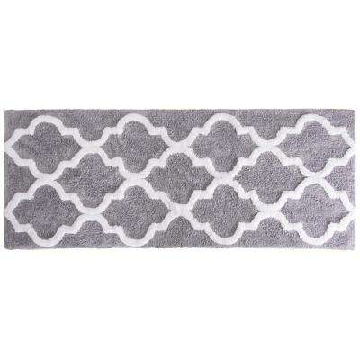 Trellis Silver 24 in. x 60 in. Bathroom Mat