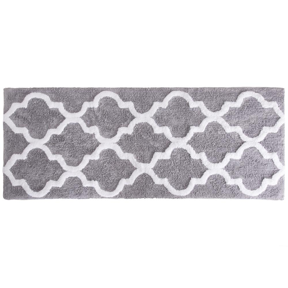 Can Bathroom Rugs Go In The Dryer: Lavish Home Trellis Silver 24 In. X 60 In. Bathroom Mat-67