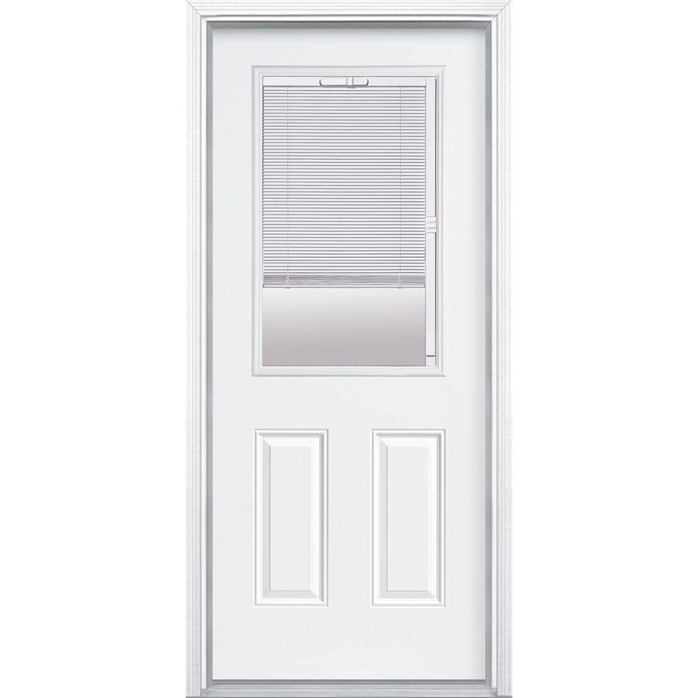 Masonite 32 in. x 80 in. Premium Clear 1/2-Lite Mini-Blind Left Hand Inswing Primed Steel Prehung Front Door with Brickmold