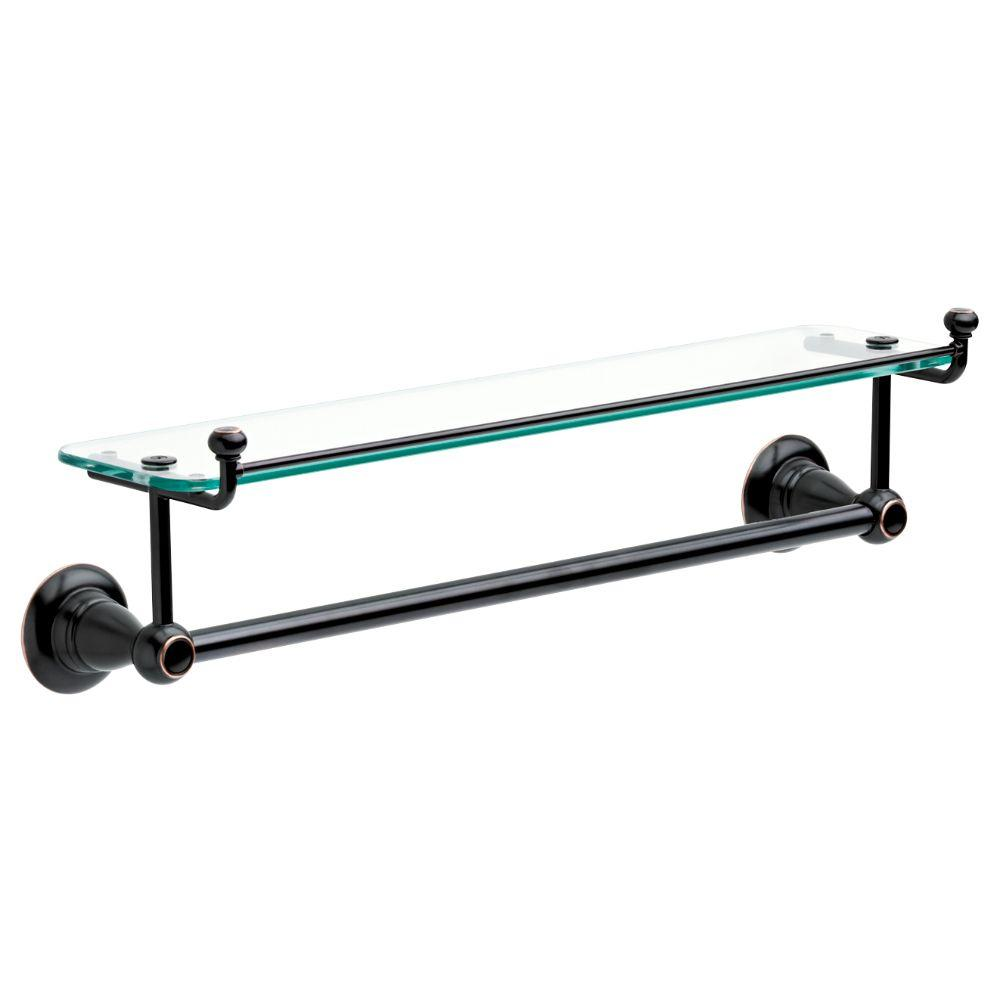 Delta Porter 18 in. Towel Bar with Glass Shelf in Oil Rubbed Bronze ...
